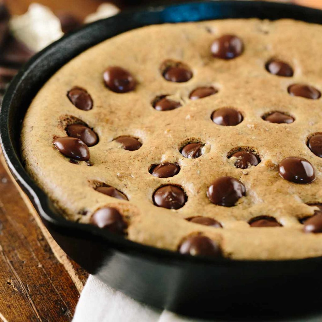 Gluten Free Chocolate Chip Cookie Skillet with Frozen Dessert Topping