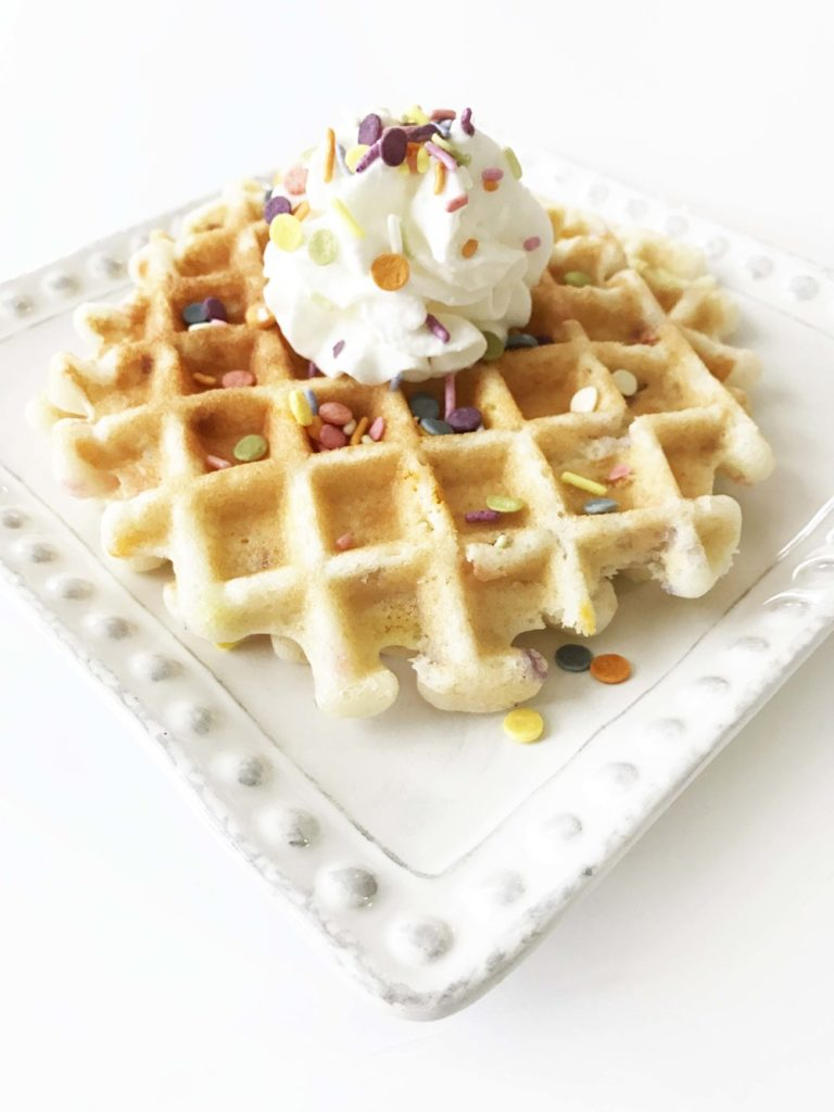 Clean Birthday Cake 'Cake Batter' Waffles (Sponsored)