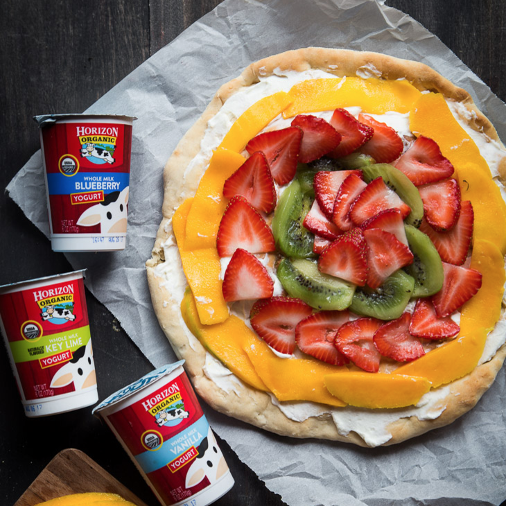 2-ingredient yogurt pizza dough and fruit pizza | What To Cook Today