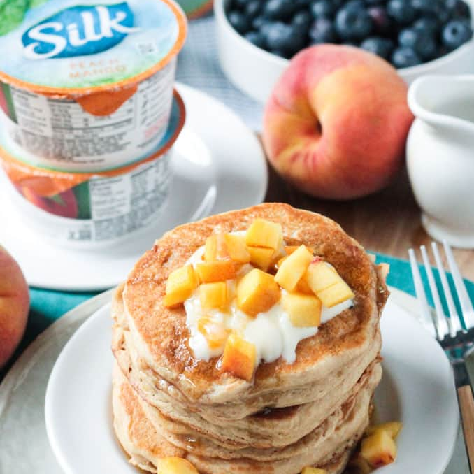 Peaches and Cream Dairy Free Pancakes ~ Veggie Inspired