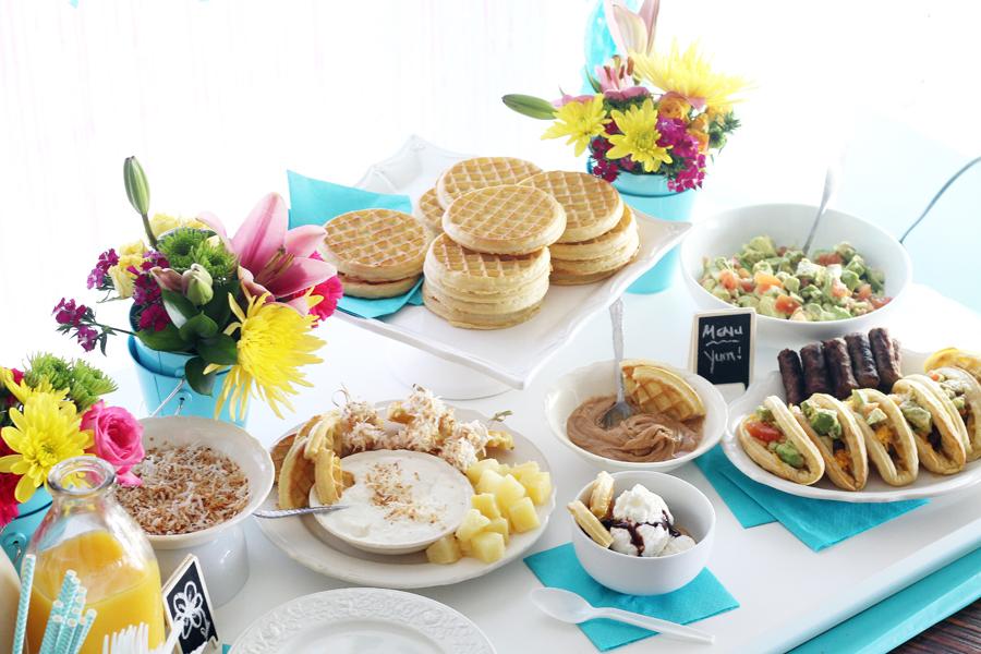 Waffle Bar Birthday Brunch Party Tutorial + Waffle Recipe Ideas
