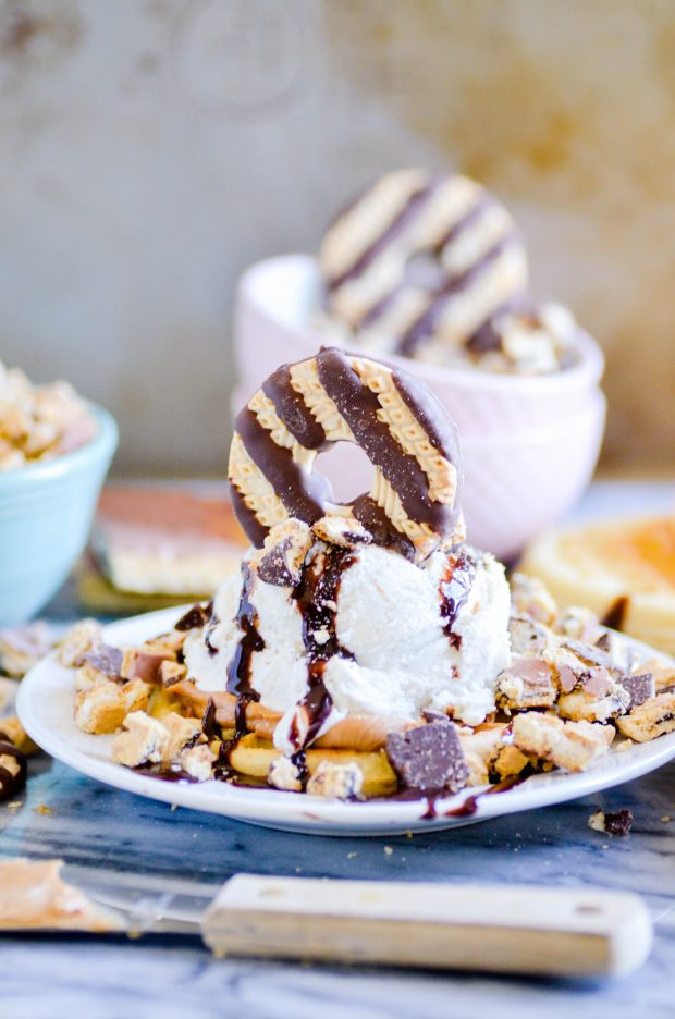 Chocolate Peanut Butter Waffle Ice Cream Blast